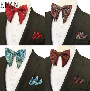 Paisley Шелк Бизнес Боути Мужчина Vintage Wine Резной Моды Нового Галстуки Черного Свадебные Bow Tie Платок Платок Set
