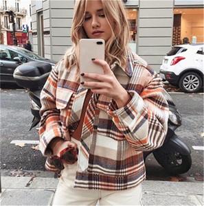 Günlük Ekose Kadınlar Kış Ceket Moda Sokak Stili Uzun Kollu Yaka Boyun Oversize Coats Yeni Womne Giyim