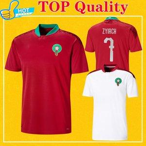 Marokko Fußball Jersey 2020 2021 Startseite Rot weg weiße Hakimi ZIYECH Alioui TOP-Qualität 20 21 Fußball-Hemd