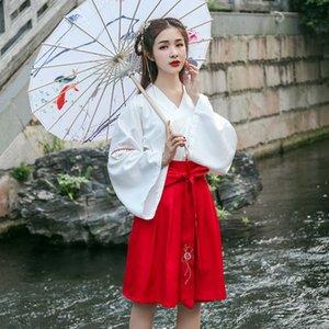 Han Kleidung der Frauen Erwachsener Quer Kragen Brust gesäumten Kleid Kostüm alten Kostüm täglich Verbesserung Han Elementklasse Kleidung der chinesische Art