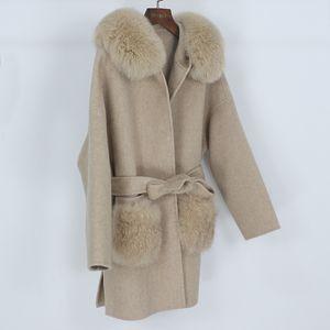 2021 OFTBUY Outerwear Women Blends Real Collar Coat Winter Jacket Pocket Natural Fur Fox Cashmere Fur Loose Wool Belt Streetwear Wfkno