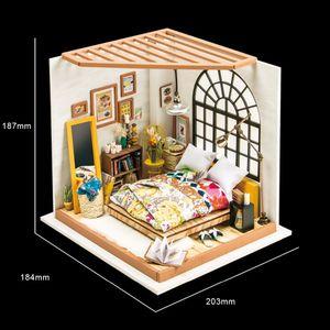 Robotime DIY بيت الدمية أليس الحالم نوم مصغرة للأطفال الكبار خشبية دمية نموذج البناء مجموعات اللعب DG107 CX200815