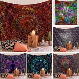 Arazzi indiano Hippie Bohemian Mandala Arazzi Psychedelic Peacock Stampa Wall Hanging da letto Soggiorno Dorm Home Decor GWF731
