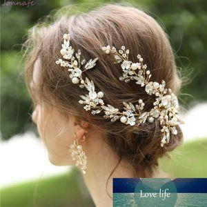 Jonnafe hecho a mano delicado de las mujeres del casco de oro cristalino nupcial del pelo de la vid corona hecha a mano pelo de la boda accesorios de la pinza Y19051302