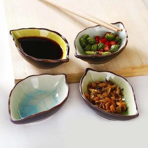 Керамическая тарелка японская посуда Уксус блюдо соевый соус Блюдо Блюдо Приправа Bone Crackle Glaze листьев Закусочная тарелка