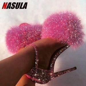 NASULA 2020 zapatos de boda de verano Fur alta de las mujeres del talón sandalias de punta abierta atractiva del color sólido peludo bombas de la señora de piel Sandalias