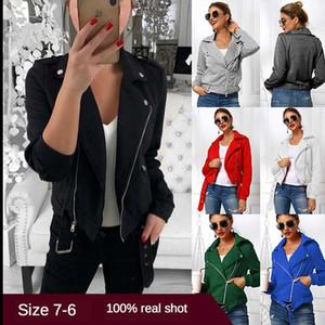 Осенняя мода Куртки Женщины моды молния мотоцикла зима короткая куртка Дамы воротник отложной Basic Street Coat