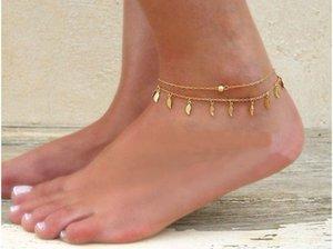 Hot-vente ornements simple chaîne pompon double chaîne petits ornements feuille de pied de chaînes de pied double couche