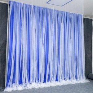 Wall boda apoyos del fondo del metal del arco decoración velo Etapa Bienvenido Área cortina de tela de hilo de nieve de fondo