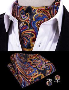 Hallo-Tie Männer Paisley Ascot Blumen Cravat Vintage-Ascot Handkerchief Cuffflinks Cravat Set für Mens Hochzeit AS-0005