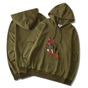 2020 Hip Hop Basketball Dunk Schädel Kaktus Feuer Stickerei Hoodie Skateboard T-Shirt Männer Frauen Hoodie