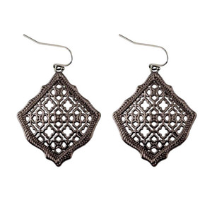 2019 New Kendra Square Kite Filigree Cutout Morocco Dangle Drop Earrings for Women Metallic Filigree Kendra Style Drop Earrings