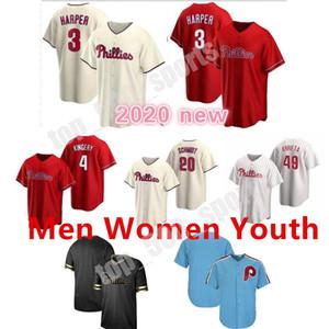 Individuelle Philadelphia 2020 Phillies Jersey 3 Harfner 17 Rhys Hoskins 10 JT Realmuto Männer Frauen Jugendliche einen beliebigen Namen jeder Trikot-Nummer 06 genäht