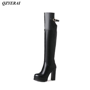 Boots QZYERAI Winter Patent Leather Ladies High Heels Knees Womens Shoes