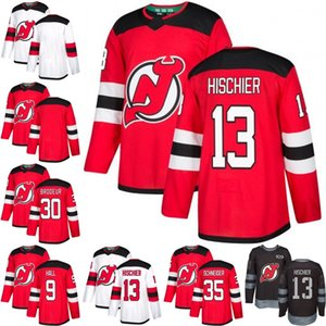 2019 uomini Hischier diavoli del New Jersey Jersey 9 Taylor Hall 13 Nico Hischier 30 Martin Brodeur 35 Cory Schneider Hockey maglie