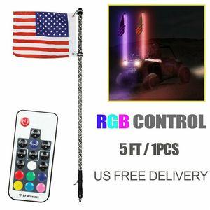 Uzaktan UTV RZR ATV cip Kum Raylar Araba Dekor Off-Road Araçlar İçin 5ft Işık Anten LED Bayrak Kırbaç Işıklı Bayrak Direği