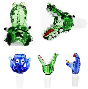 crocodile Glass Bowls Nail Dry Herb Holder Cute Shape 14 mm Joint Mini Smoking pipe Glass Blunt Pipe short hand pipes