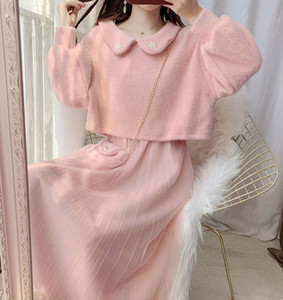 Womens Two-piece Set Autumn new 2020 Ladies Short Knit Sweater With Sling Dress Female Suit Doll collar Loose Sweater+Dress Set X0923