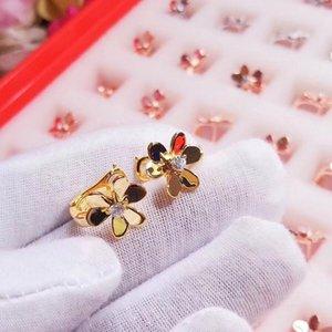 qualidade de luxo S925 Prata pura brinco com flor e de diamante para a mãe e as mulheres brinco jóias de PS57 frete grátis