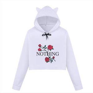 Nothing Letter Rose Printed Crop Top Hoodies Women Harajuku Autumn Long Sleeve Female Kpop VOGUE Crop Sweatshirt Casual Pullover