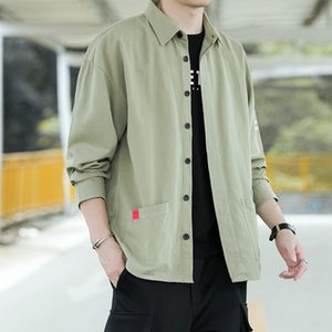 Spring 2020 men's Japanese popular logo shirt port of cotton loose long-sleeved casual shirt tooling students wind