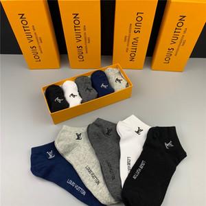 Louis Vuitton 2020 Diseñador Sólido Longitud de los calcetines del color del verano ocasional del tobillo Calcetines transpirable 100% algodón para hombres y mujeres