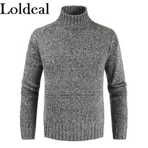 Men's Sweaters Loldeal Men Long Sleeve Sweater Fashion Warm Turtleneck Solid Color Knit Casual Pullover