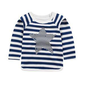 Children's White Stripped T-shirt Cotton Boys Girls Tops Shirts Children's Tshirt Autumn Tshirts Toddler Girl Winter Clothes