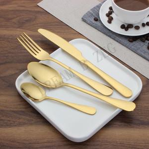 Custom stainless steel gold tableware set spoon fork knife tea spoon cutlery set, kitchen bar utensils, kitchen supplies