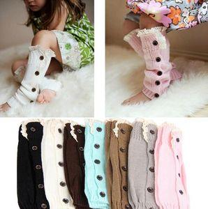 Invierno Niños Boys Girls Knit Wool Socks Baby Gilr Knit Boot Puños Calentadores de pierna Calentador Niños Medias largas Botón Botines Botines de encaje Mangas E9103