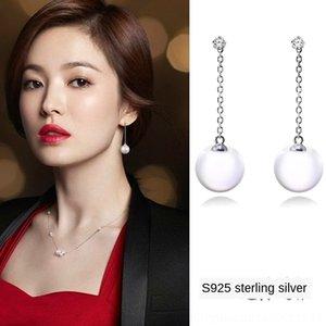 S925 gümüş erkek arkadaşı İnci ve Song inci Kore tarzı tarzı boncuk moda küpe uzun püskül küpe aynı Huiqiao hCczv
