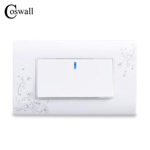 COSWALL Basit Stil 1 Gang 2 Yollu Açma / Kapama Duvar Anahtarı Engelleyici Beyaz Renk Işık Anahtarı 114 * 70mm AC 110 ~ 250V C30-118-101