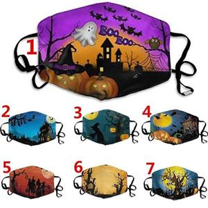 Eğlence Cadılar Bayramı Kabak Baskılı Yüz Kafatası Koruyucu Kulak-döngü Yüz Maskesi Yıkanabilir Yeniden kullanılabilir Nefes Parti Ağız Maske Yetişkin Kid maske