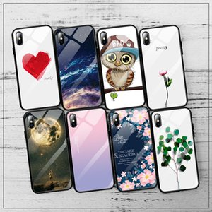 Cgjxstempered Glas-Telefon-Kästen für Iphone 8 7 6 6s Plus X Xs Max Xr Anti -Knock Scenery Glasschutzhülle für iPhone 7 Fall