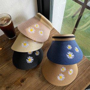 Yaz Daisy Top Siperlik Hasır Şapka Seyahat Kore Stil Tide Net Çiçekler Küçük Taze Japon Sun Beach Kadın Kırmızı