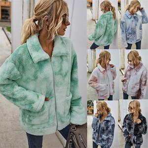 Tie-dye Women Jacket Cardigan Autumn Winter Lapel Neck Long Sleeve Colorful Coats Casual Loose Thick Women Outerwears