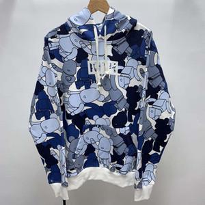 Kith X BE @ RBRICK modello Felpe Uomo Donna Maglioni Hoody coppie padre-figlio Pullover Streetwear Blue Bear Stampa allentato inverno Hip Hop OS