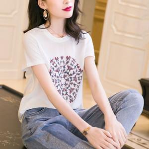 HVcDr femmes T-shirt à manches courtes 2020 été nouveau imprimé col rond de mode coiffure Coiffe T-shirt Haut