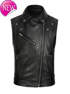 Black Men 2020 Slim Fit cuir Biker Vest Plus Size XXXXL véritable peau de vache Automne court de moto Gilet en cuir LIVRAISON GRATUITE