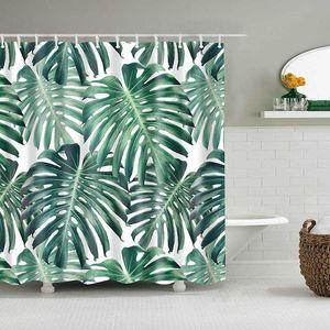Las plantas tropicales verdes Cortinas Baño Baño de poliéster impermeable cortina de la ducha de las hojas de impresión cortinas de baño ducha