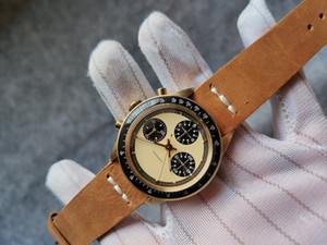 ALTIN RENGİ bilezik 37mm Vintage 6239 6240 6263 Paul Newman En iyi kalite ST19 eli sargı paulnewmen erkekler kol saati Chronograph izle