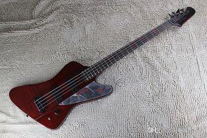 Livraison gratuite Nouvelle arrivée sur commande rouge Guitare basse électrique 4 cordes Thunderbird Bass Guitar bouclier miroir
