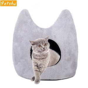 Petshy 애완 동물 고양이 동굴 침대 컷 세련된 귀 개 하우스 이동식 쿠션 방수 바닥 강아지 작은 애완 동물 침낭 둥지