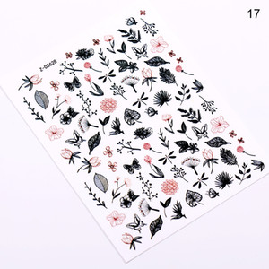12pc Summer Tropical Leaves Nail StickerRose Flower Designs Nail Art Butterfly Spring Blossom Adhesive Decal Decorations