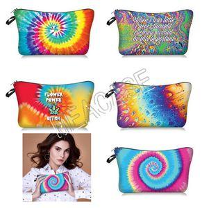 Women New Fashion Makeup Handbags Tie-dye Letters Cosmetic Bag Clutch Bag Hand Bags Pouch Ladies Storage Toiletry Bag Purses 5 Colors D81208