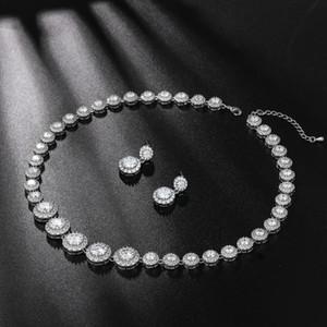 WEIMANJINGDIAN nuovo arrivo taglio rotondo Icy collana Tennis Cubic Zirconia CZ cristallo Halo e orecchini da sposa gioielli Set
