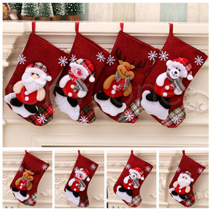Рождество Большой чулки снеговика Санта-Клаус конфеты подарочные пакеты Держатели Xmas носки висячие украшения Новогодние украшения RRA3526