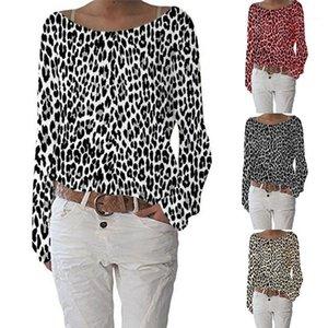Tshirt осень с длинным рукавом Экипаж шеи пуловер Тис Топы Leopard Print Plus Размер Женская одежда Vestidoes Womens Дизайнер Luxury