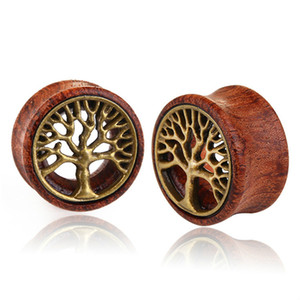 Retro tree of life wood Ear Gauges Flesh Tunnels Plugs Expander Stretcher Ear Piercing Jewelry for men women jewelry will and sandy new