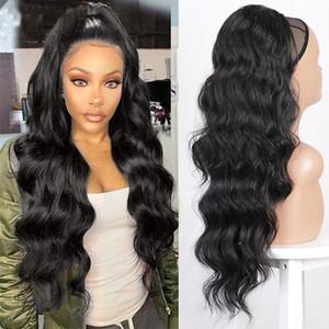 Ondulate lunghe sintetiche dei capelli del Ponytail coulisse Ponytail della clip nel Hairpiece Black Wave Coda di cavallo per Black Women